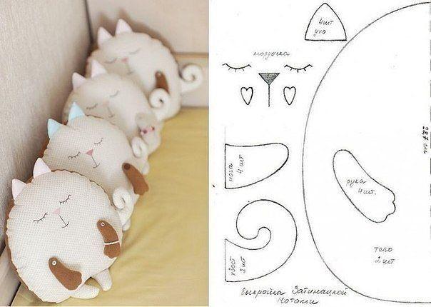 выкройка подушки кошка