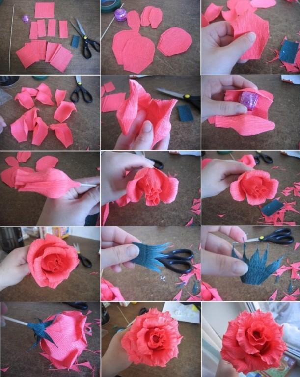 Розы из гофрированной бумаги и конфет мастер класс фото